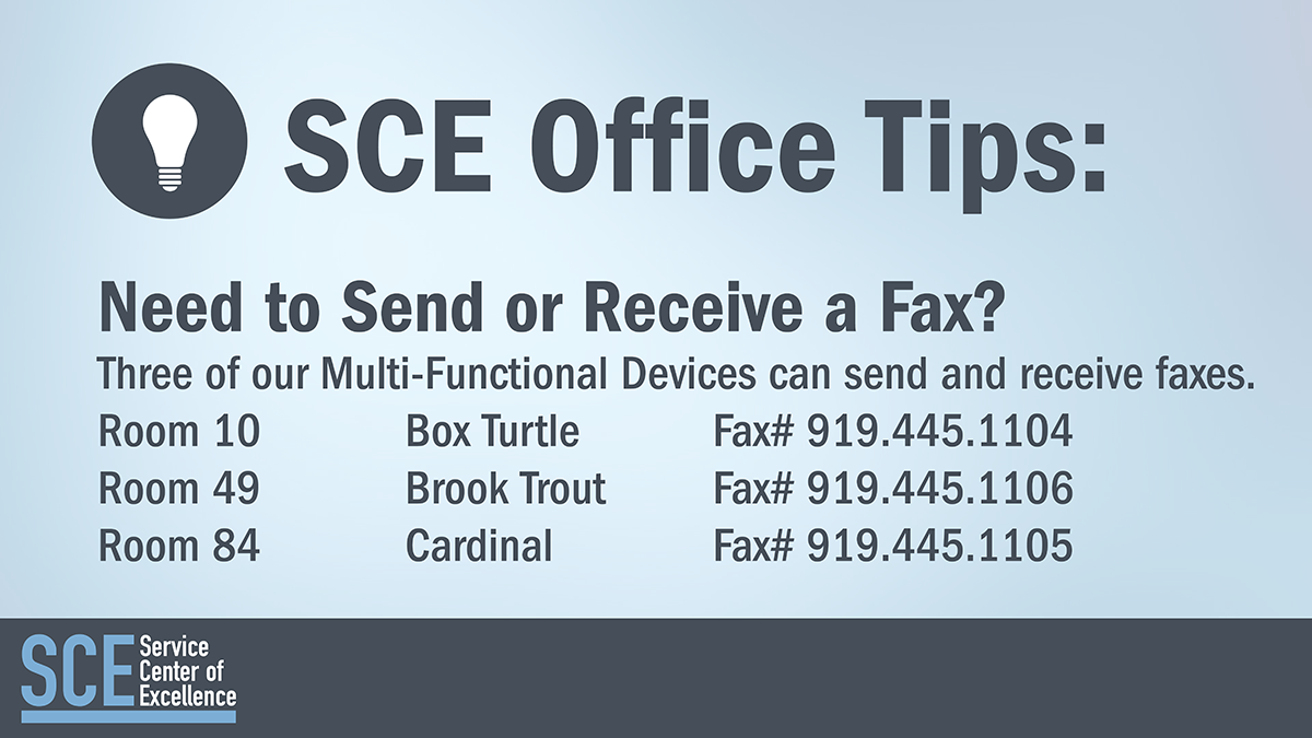 SCE Office Tips: Sending and Receiving faxes from office printers.
