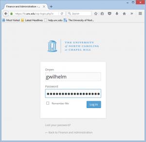 WordPress admin log-in