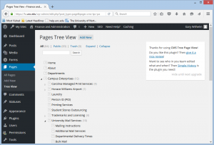 WordPress dashboard pages tree view