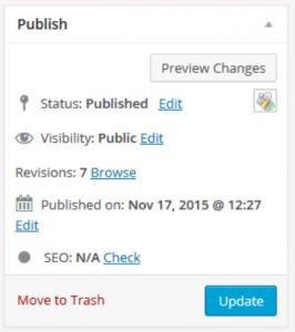 WordPress Publish panel