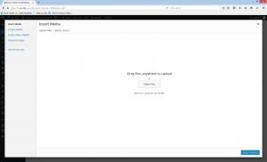 Wordpress upload media page