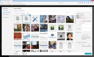 WordPress new media added, insert selected media example.