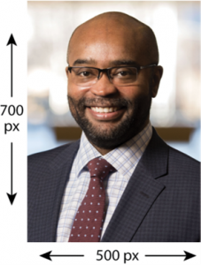 Example of headshot portrait with size recommendation: 700 pixels by 500 pixels