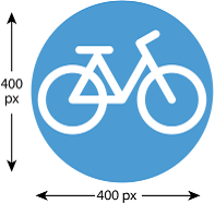 Example of icon with size recommendation: 400 pixels by 400 pixels