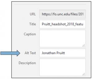 screen shot of WordPress 'attachment details' pane.