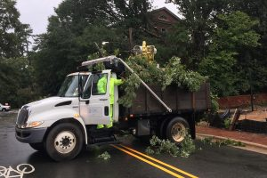 Facilities Services truck removes debris from Hurricane Florence