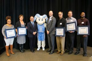 Five Star Award Winners (holding awards) Yolanda Torain, Nicole Long, Jeffrey Birdsong, Alan Forrest and Henry Price with Steve Agostini, Rameses Junior and Nathan Knuffman