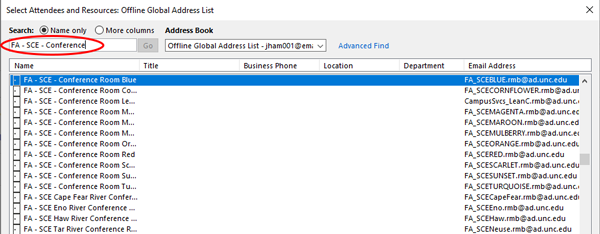 Screenshot of Outlook address book for SCE conference rooms.