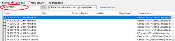 Screenshot of Outlook address book of SCE Vehicles and service permits.