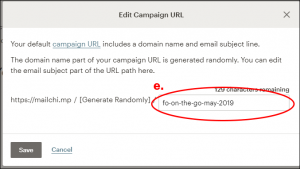step e. enter new url in edit campaign url box