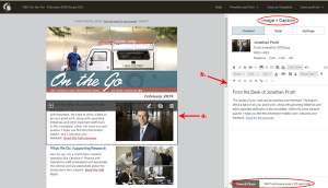 Newsletter editing screen with image and caption content block opened