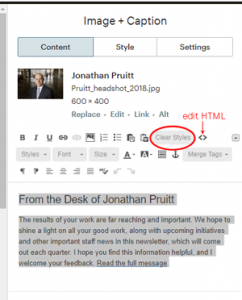 Image and caption block editor with clear ctyles circled and html editing icon highlighted