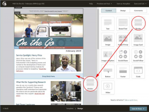 Campaign editing page. Divider content block drag and drop illustrated with arrows