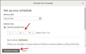 Schedule your campaign screen