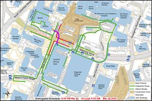 Manning Drive Closure Map